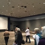 Reception Ballroom provides a big screen to show off fiber arts pictures
