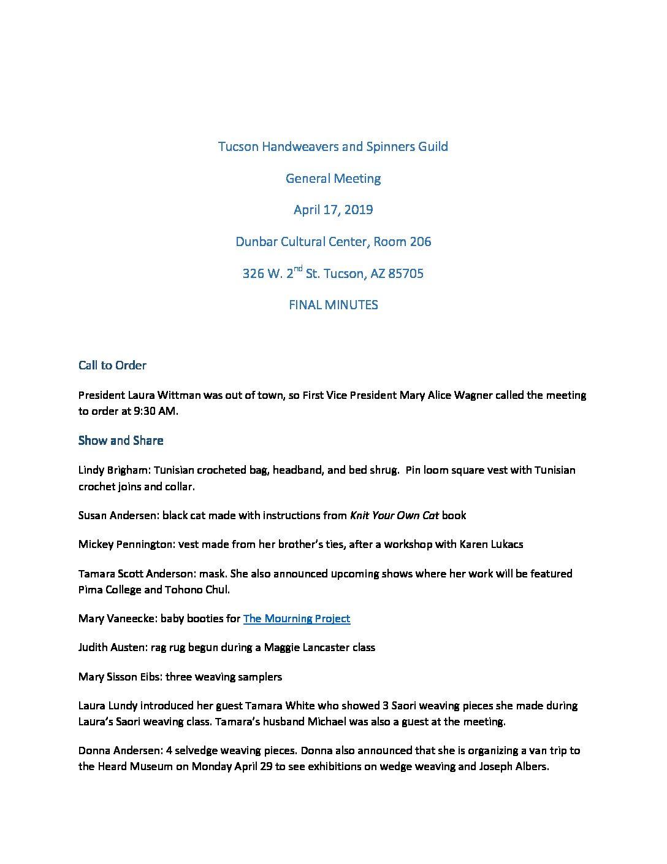 General Meeting_April 2019 - Tucson Handweavers and Spinners